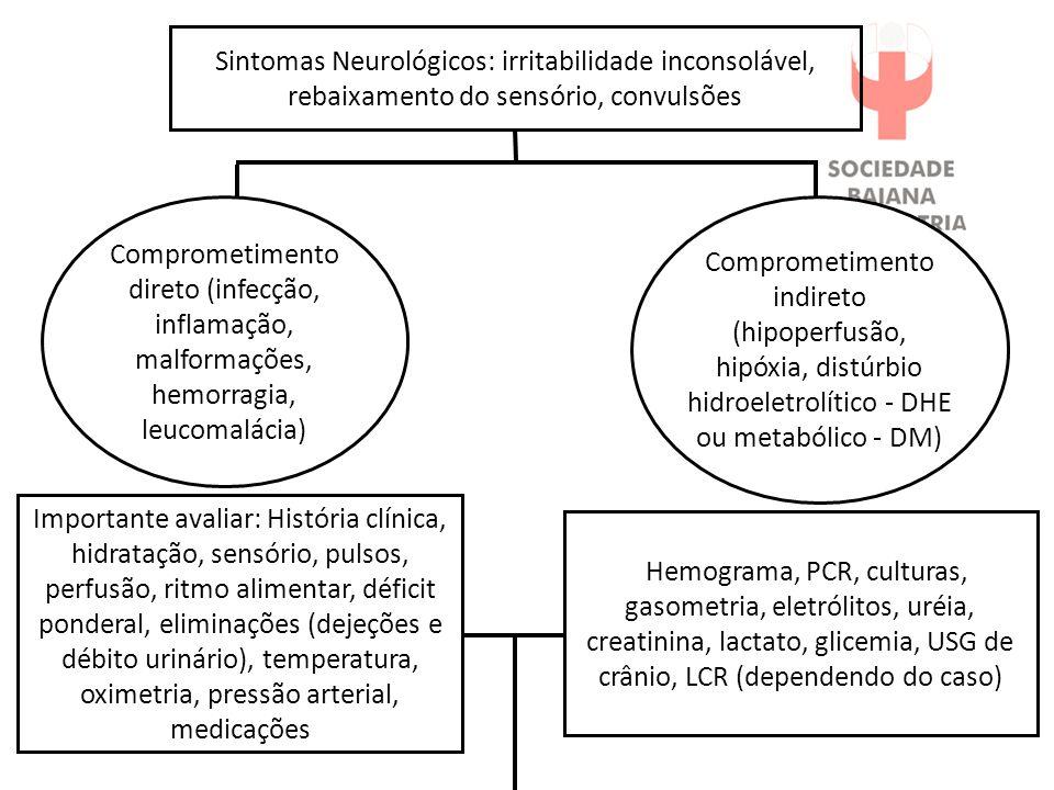 Sintomas Neurológicos: irritabilidade inconsolável, rebaixamento do sensório, convulsões