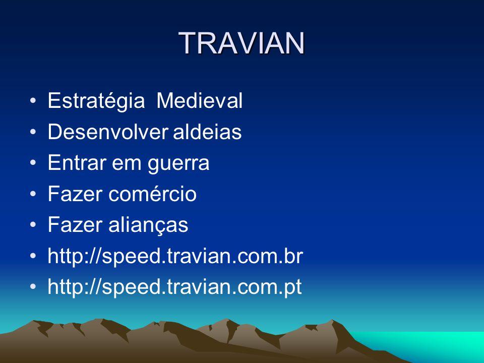 TRAVIAN Estratégia Medieval Desenvolver aldeias Entrar em guerra