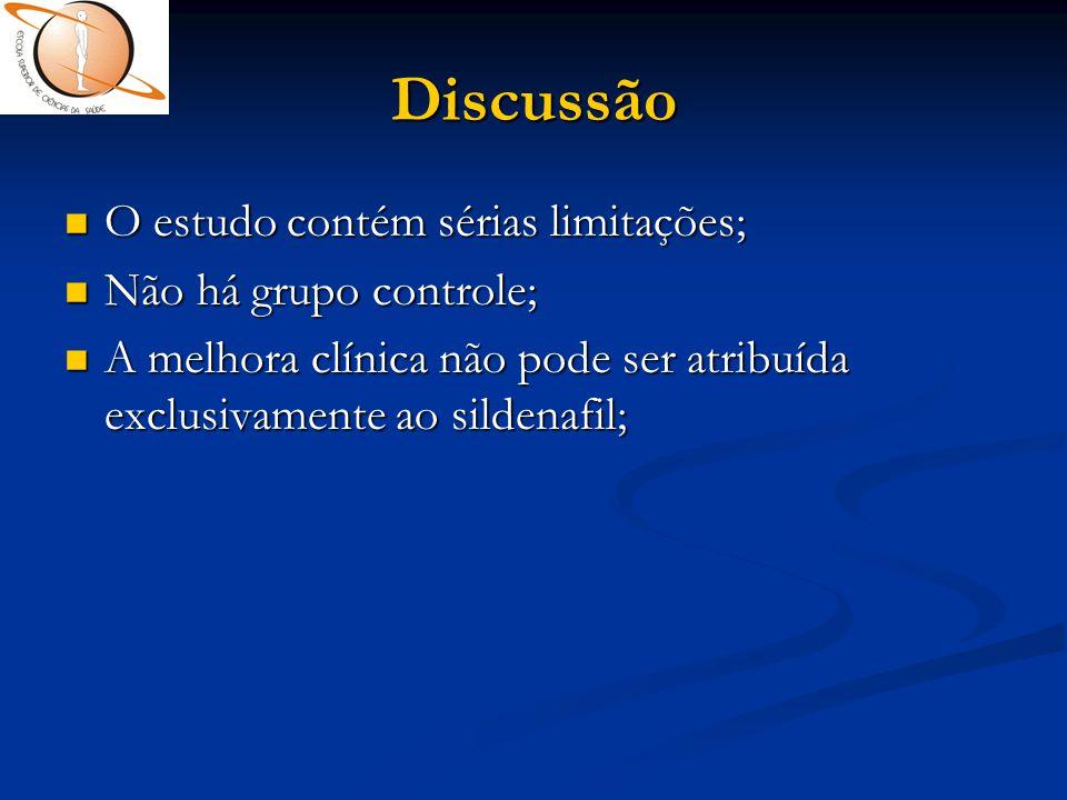 Discussão O estudo contém sérias limitações; Não há grupo controle;