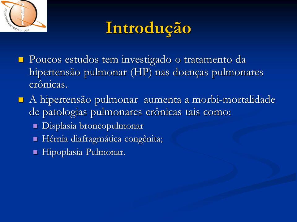Introdução Poucos estudos tem investigado o tratamento da hipertensão pulmonar (HP) nas doenças pulmonares crônicas.