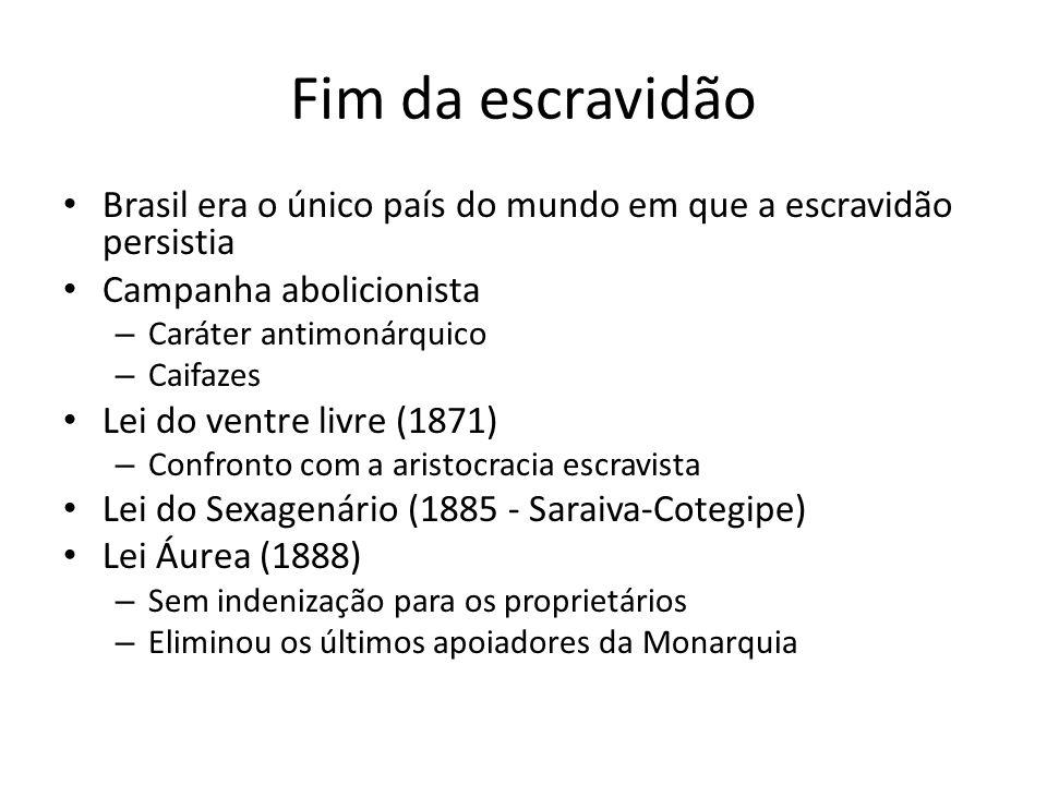 Fim da escravidão Brasil era o único país do mundo em que a escravidão persistia. Campanha abolicionista.