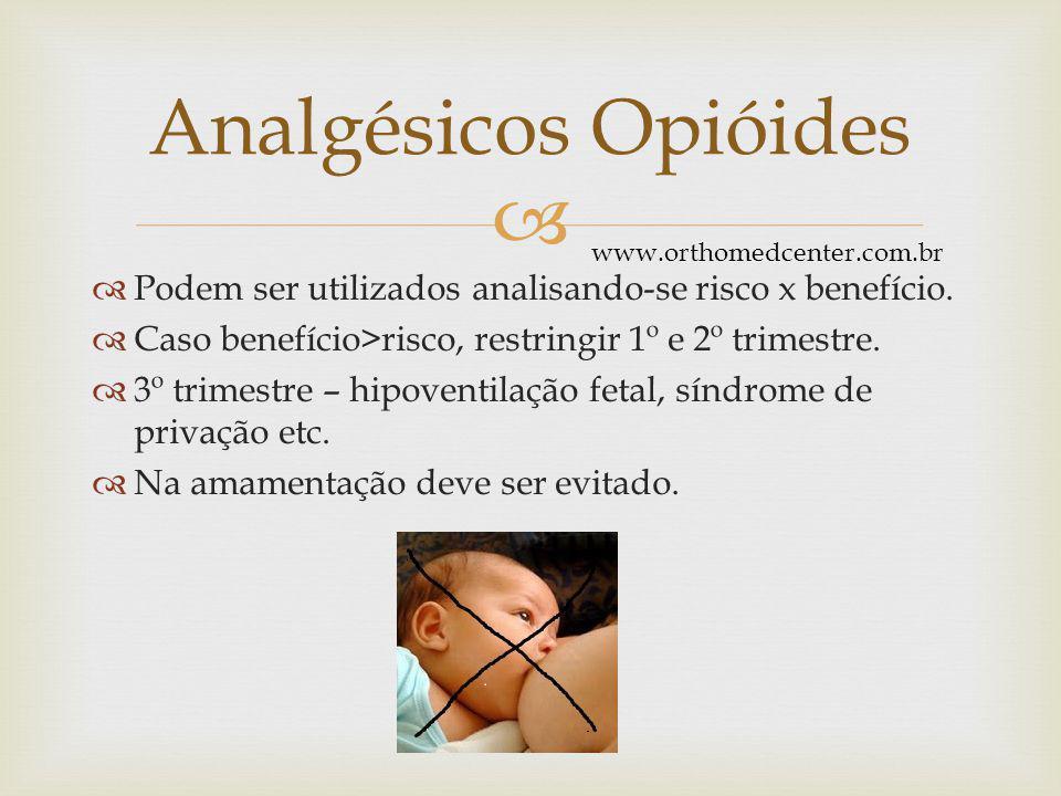 Analgésicos Opióides www.orthomedcenter.com.br. Podem ser utilizados analisando-se risco x benefício.