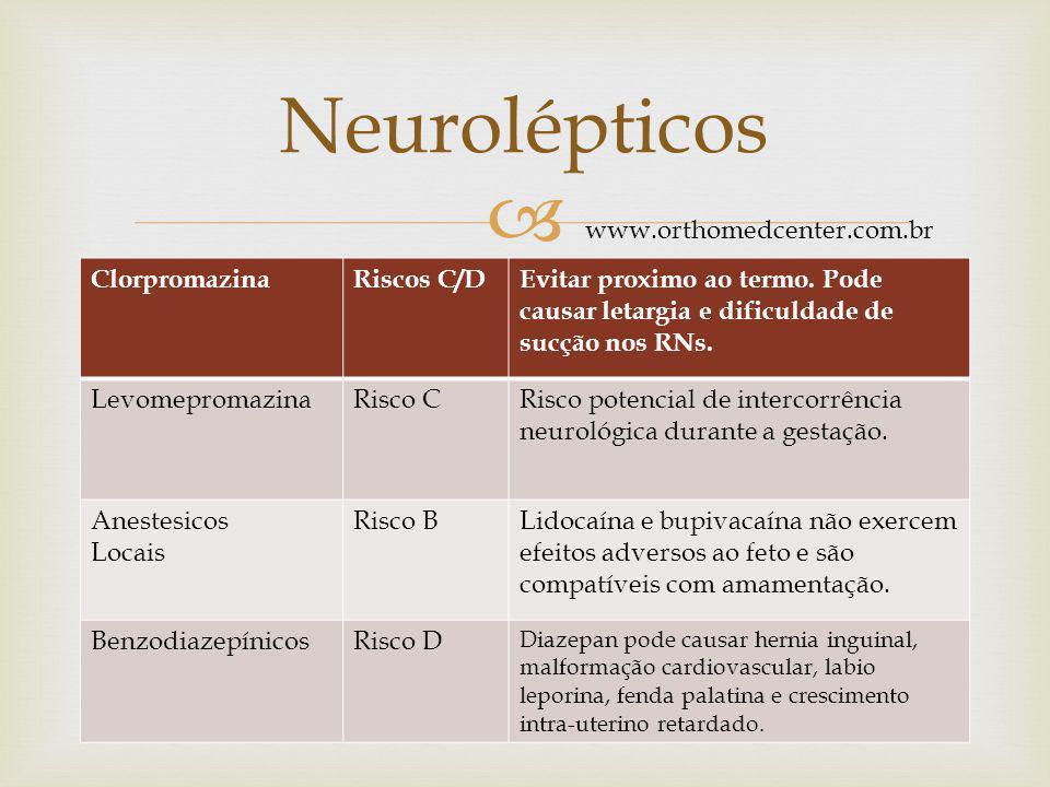 Neurolépticos www.orthomedcenter.com.br Clorpromazina Riscos C/D