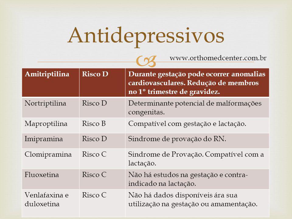 Antidepressivos www.orthomedcenter.com.br Amitriptilina Risco D