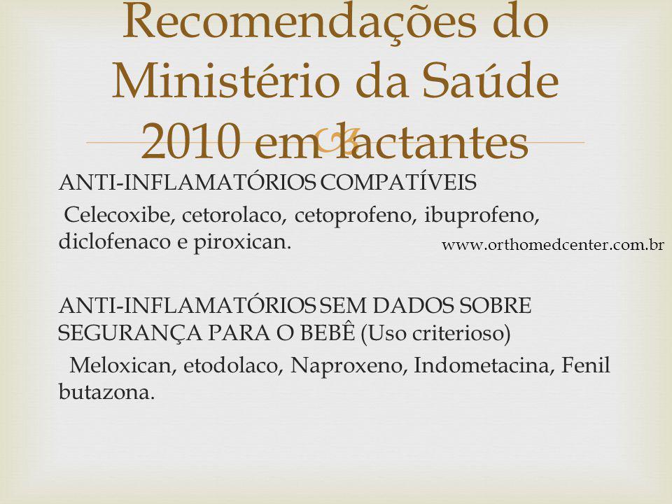 Recomendações do Ministério da Saúde 2010 em lactantes
