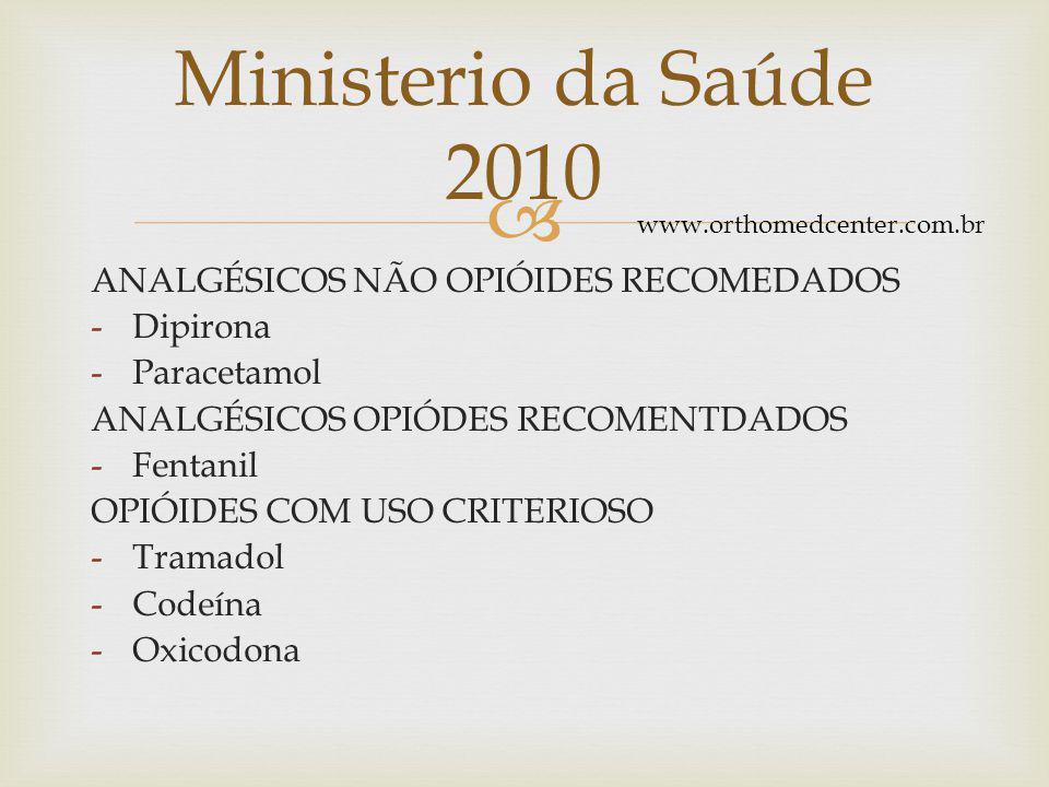 Ministerio da Saúde 2010 ANALGÉSICOS NÃO OPIÓIDES RECOMEDADOS Dipirona
