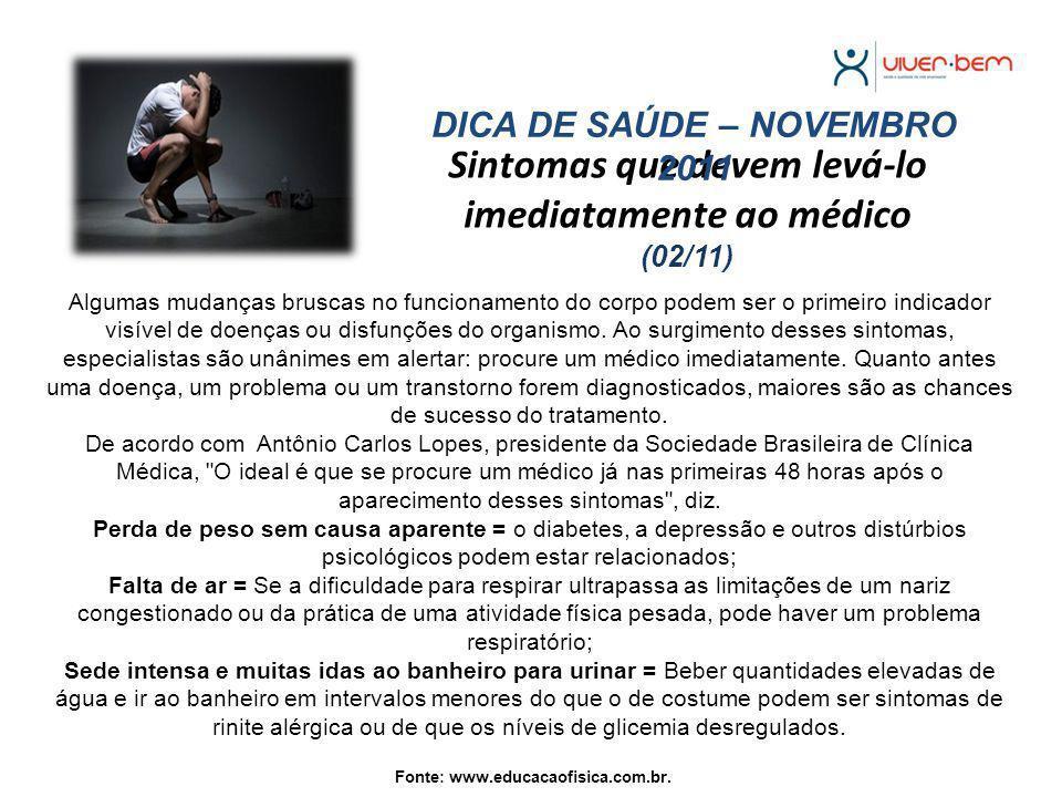 Sintomas que devem levá-lo imediatamente ao médico (02/11)