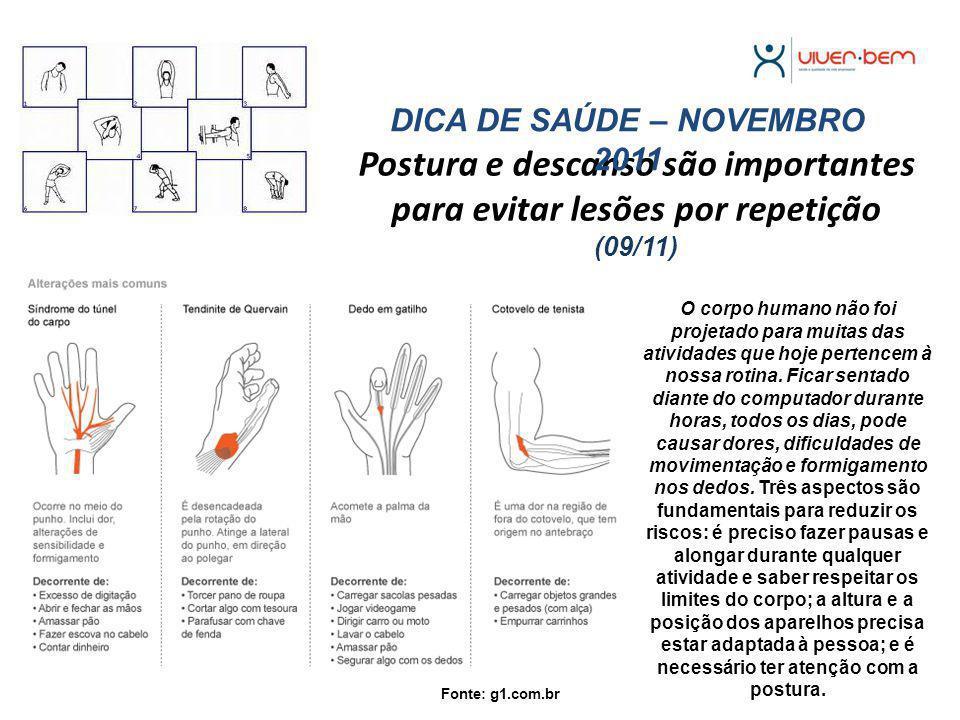 DICA DE SAÚDE – NOVEMBRO 2011
