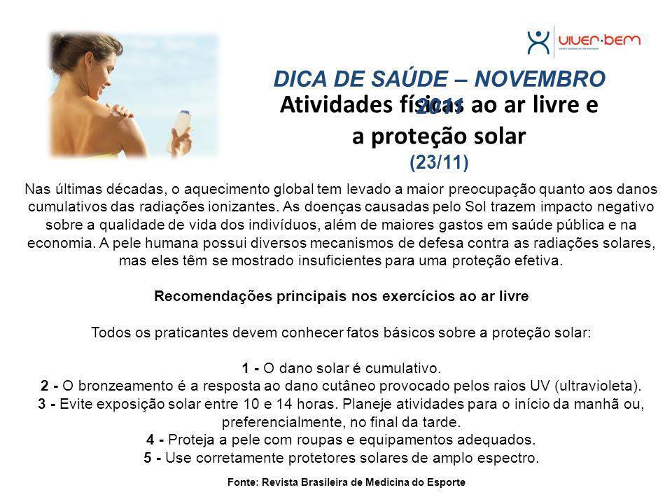 Atividades físicas ao ar livre e a proteção solar (23/11)