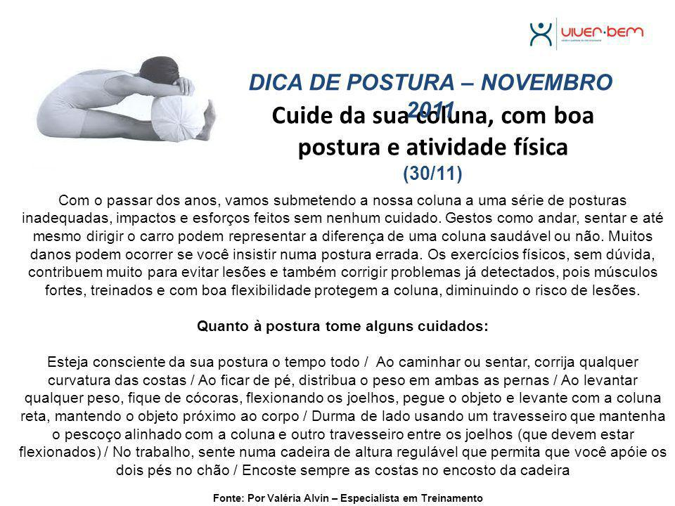 Cuide da sua coluna, com boa postura e atividade física (30/11)