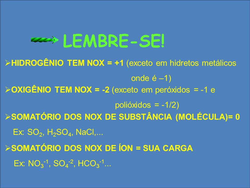 LEMBRE-SE! HIDROGÊNIO TEM NOX = +1 (exceto em hidretos metálicos