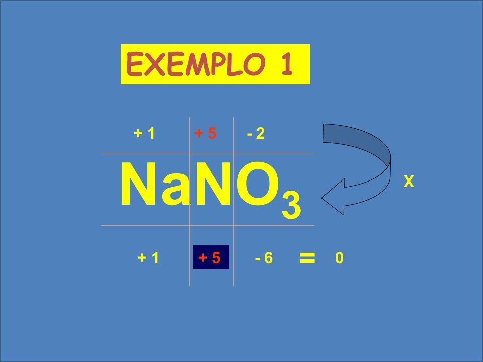 EXEMPLO 1 + 1 + 5 - 2 X NaNO3 = + 1 - 6