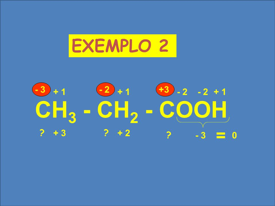 CH3 - CH2 - COOH EXEMPLO 2 = - 3 - 2 +3 + 1 + 1 - 2 - 2 + 1 - 3 + 3
