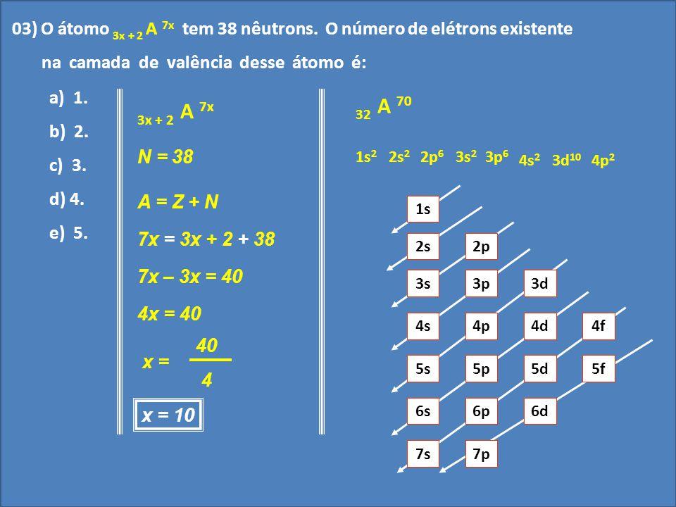 03) O átomo 3x + 2 A 7x tem 38 nêutrons. O número de elétrons existente
