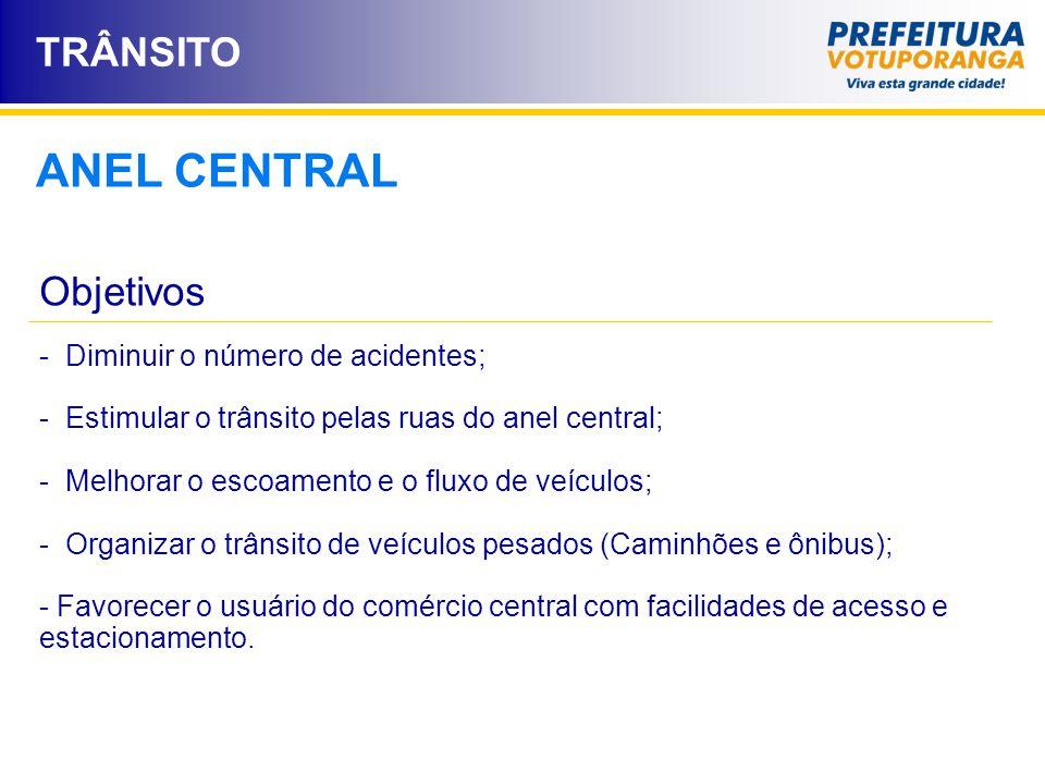 ANEL CENTRAL TRÂNSITO Objetivos - Diminuir o número de acidentes;