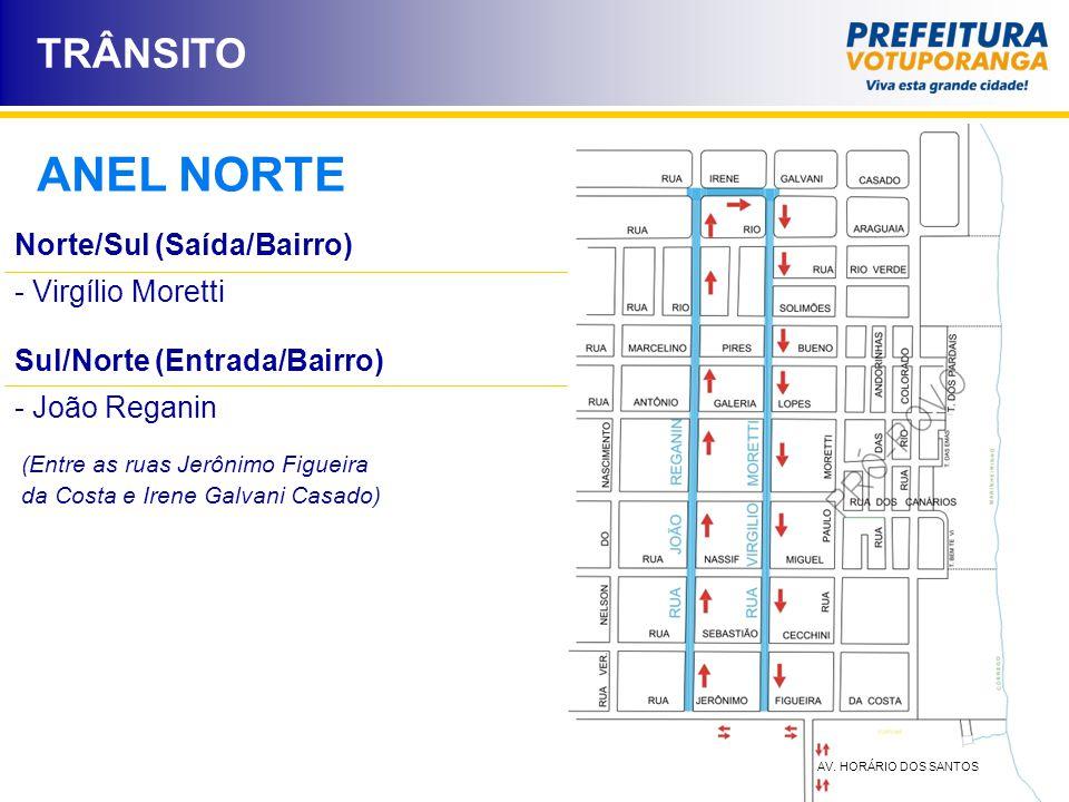 ANEL NORTE TRÂNSITO Norte/Sul (Saída/Bairro) Virgílio Moretti