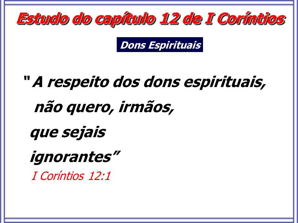 Estudo do capítulo 12 de I Coríntios