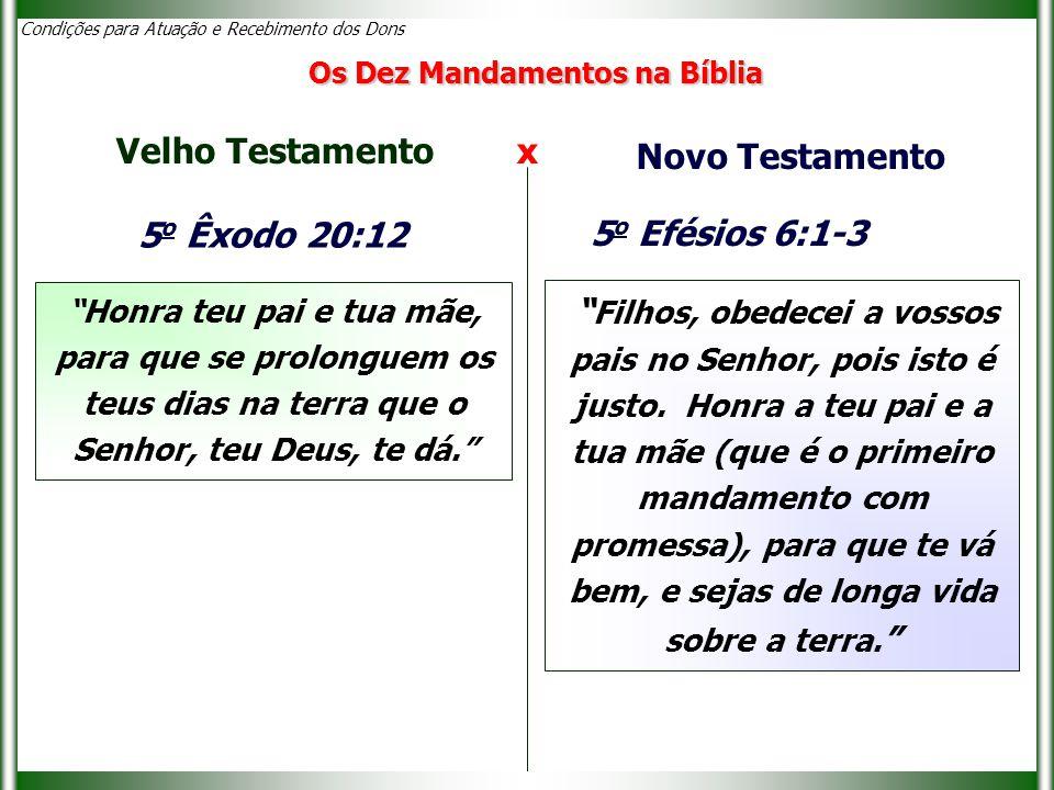 Velho Testamento x Novo Testamento 5o Êxodo 20:12 5o Efésios 6:1-3