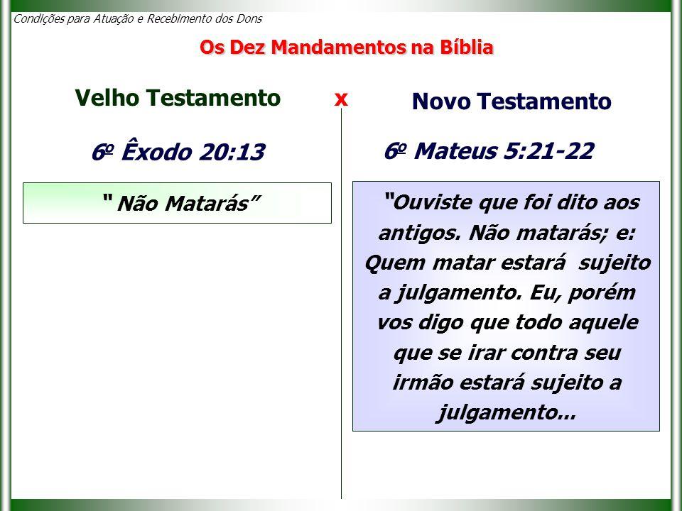 Velho Testamento x Novo Testamento 6o Êxodo 20:13 6o Mateus 5:21-22