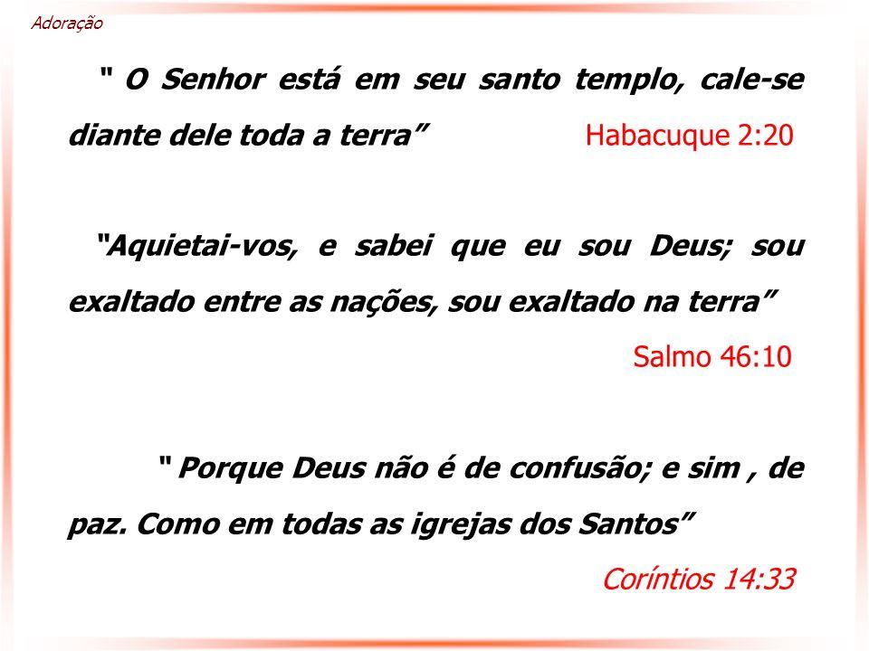 Adoração O Senhor está em seu santo templo, cale-se diante dele toda a terra Habacuque 2:20.