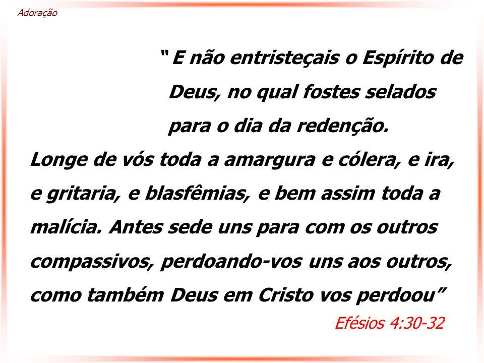 E não entristeçais o Espírito de Deus, no qual fostes selados