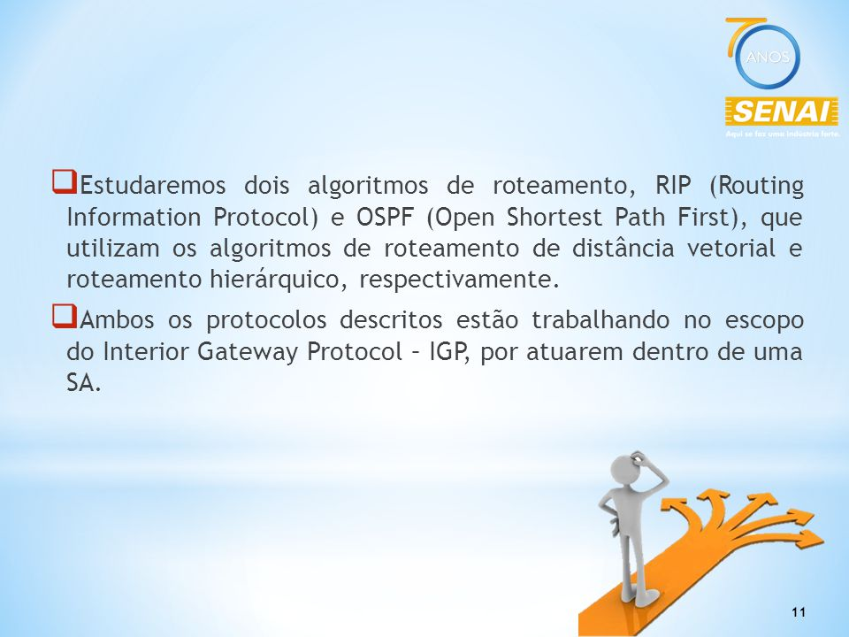 Estudaremos dois algoritmos de roteamento, RIP (Routing Information Protocol) e OSPF (Open Shortest Path First), que utilizam os algoritmos de roteamento de distância vetorial e roteamento hierárquico, respectivamente.