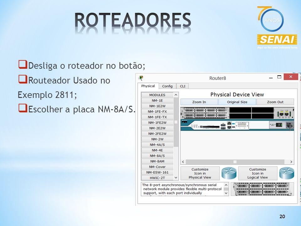 ROTEADORES Desliga o roteador no botão; Routeador Usado no