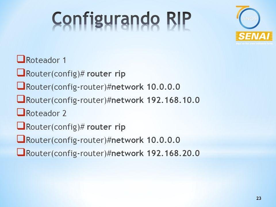 Configurando RIP Roteador 1 Router(config)# router rip