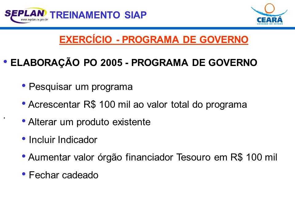 EXERCÍCIO - PROGRAMA DE GOVERNO