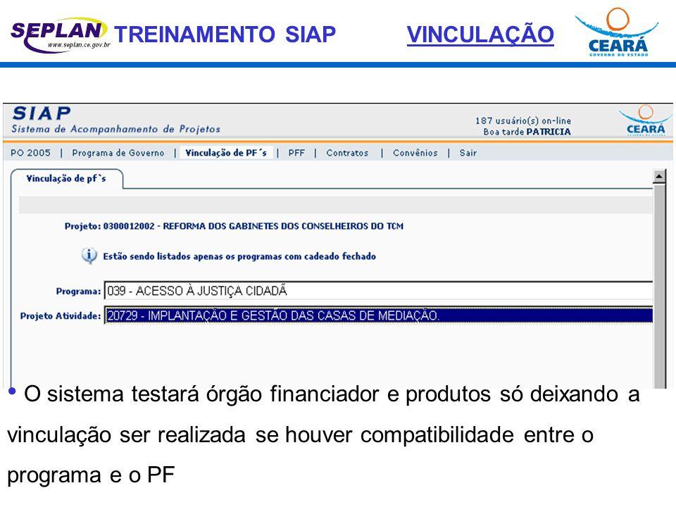VINCULAÇÃO O sistema testará órgão financiador e produtos só deixando a vinculação ser realizada se houver compatibilidade entre o programa e o PF.