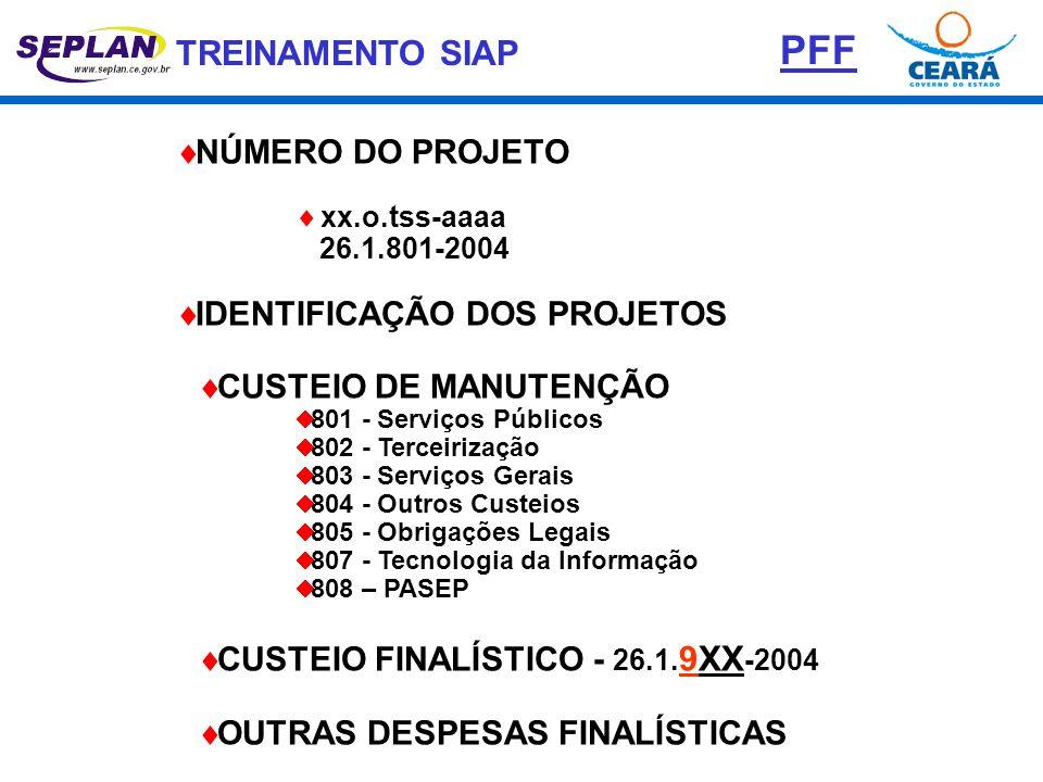 PFF NÚMERO DO PROJETO IDENTIFICAÇÃO DOS PROJETOS CUSTEIO DE MANUTENÇÃO