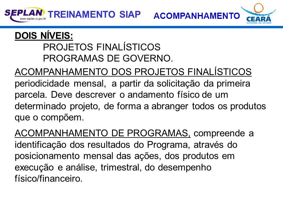 PROJETOS FINALÍSTICOS PROGRAMAS DE GOVERNO.