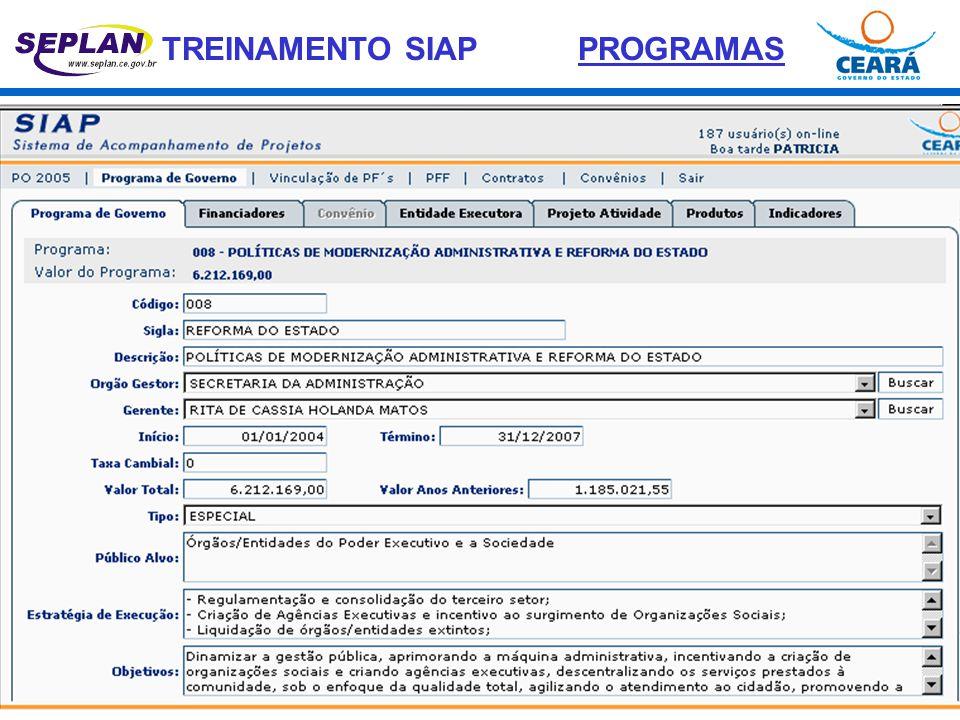 PROGRAMAS PROGRAMA DE GOVERNO