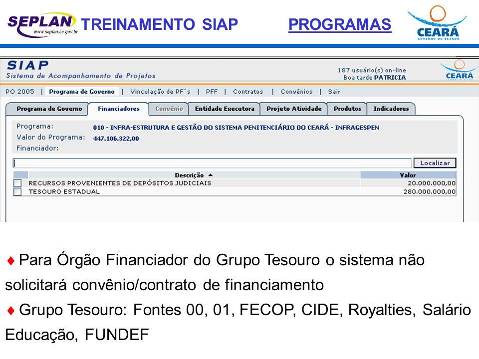 PROGRAMAS Para Órgão Financiador do Grupo Tesouro o sistema não solicitará convênio/contrato de financiamento.