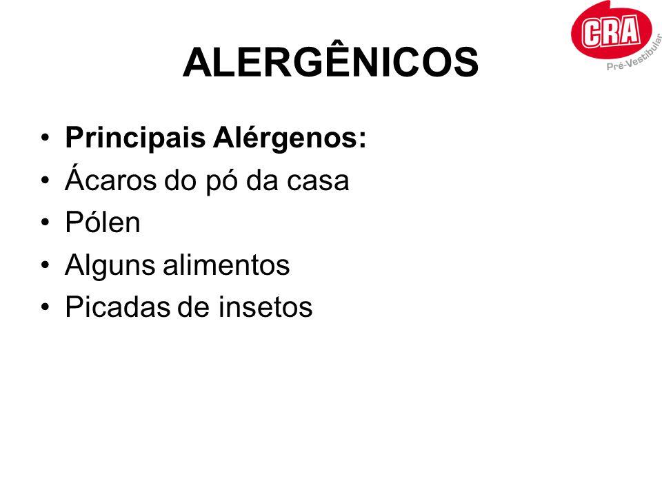 ALERGÊNICOS Principais Alérgenos: Ácaros do pó da casa Pólen