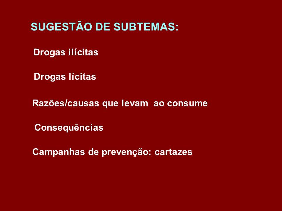 SUGESTÃO DE SUBTEMAS: Drogas ilícitas Drogas lícitas