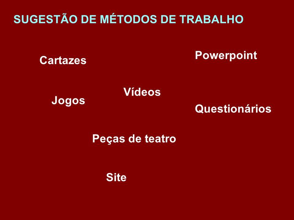 SUGESTÃO DE MÉTODOS DE TRABALHO