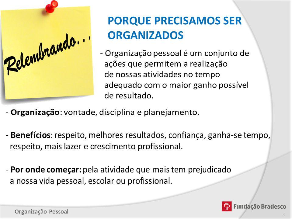 - Organização: vontade, disciplina e planejamento.