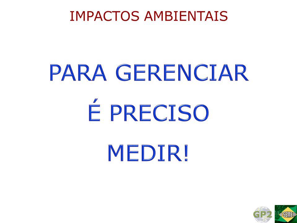 IMPACTOS AMBIENTAIS PARA GERENCIAR É PRECISO MEDIR!