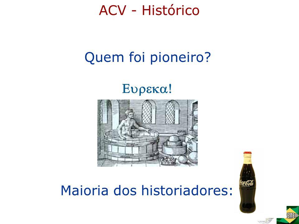 ACV - Histórico Quem foi pioneiro Eureka! Maioria dos historiadores: