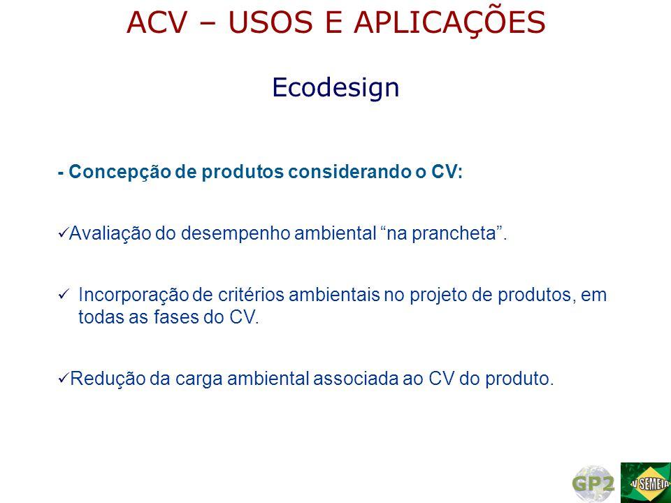 ACV – USOS E APLICAÇÕES Ecodesign