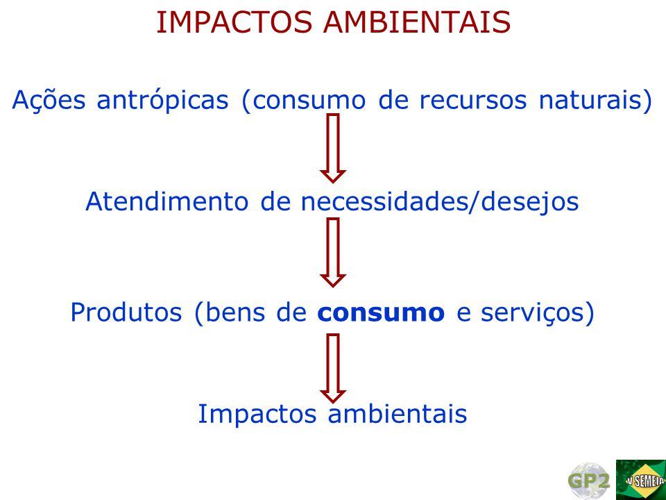 IMPACTOS AMBIENTAIS Ações antrópicas (consumo de recursos naturais)