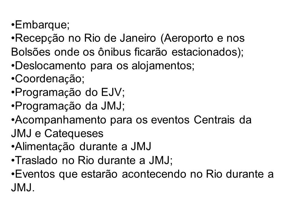 Embarque; Recepção no Rio de Janeiro (Aeroporto e nos Bolsões onde os ônibus ficarão estacionados);
