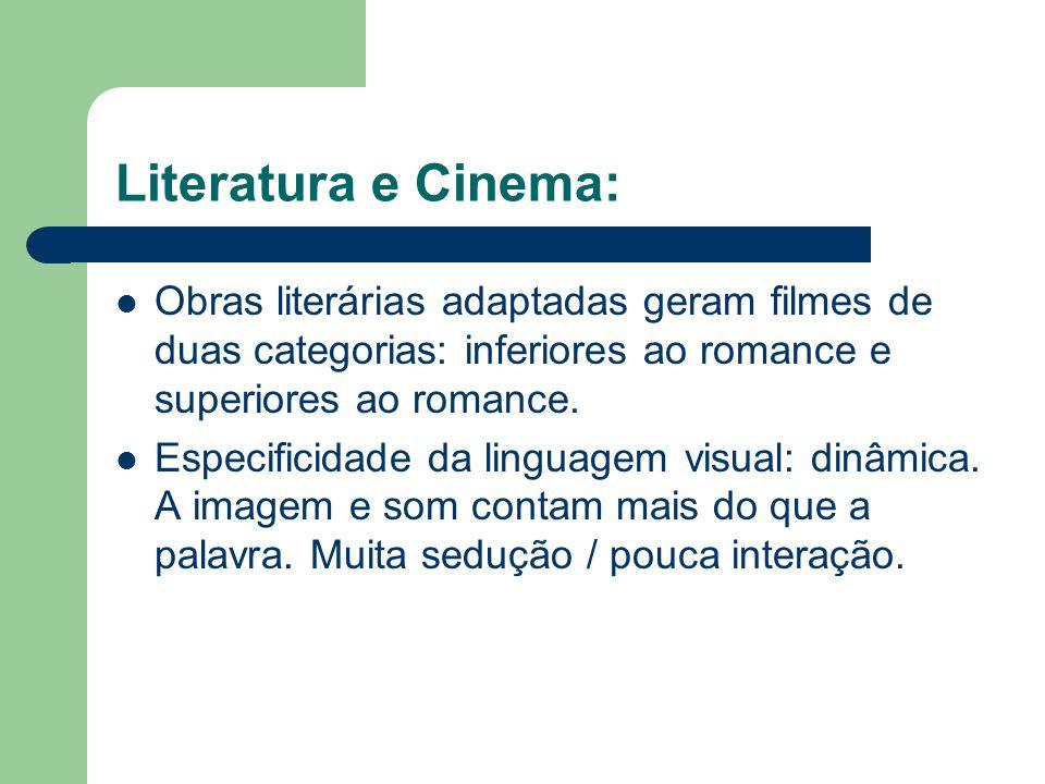 Literatura e Cinema: Obras literárias adaptadas geram filmes de duas categorias: inferiores ao romance e superiores ao romance.