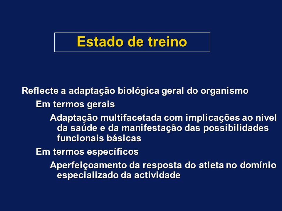Estado de treino Reflecte a adaptação biológica geral do organismo