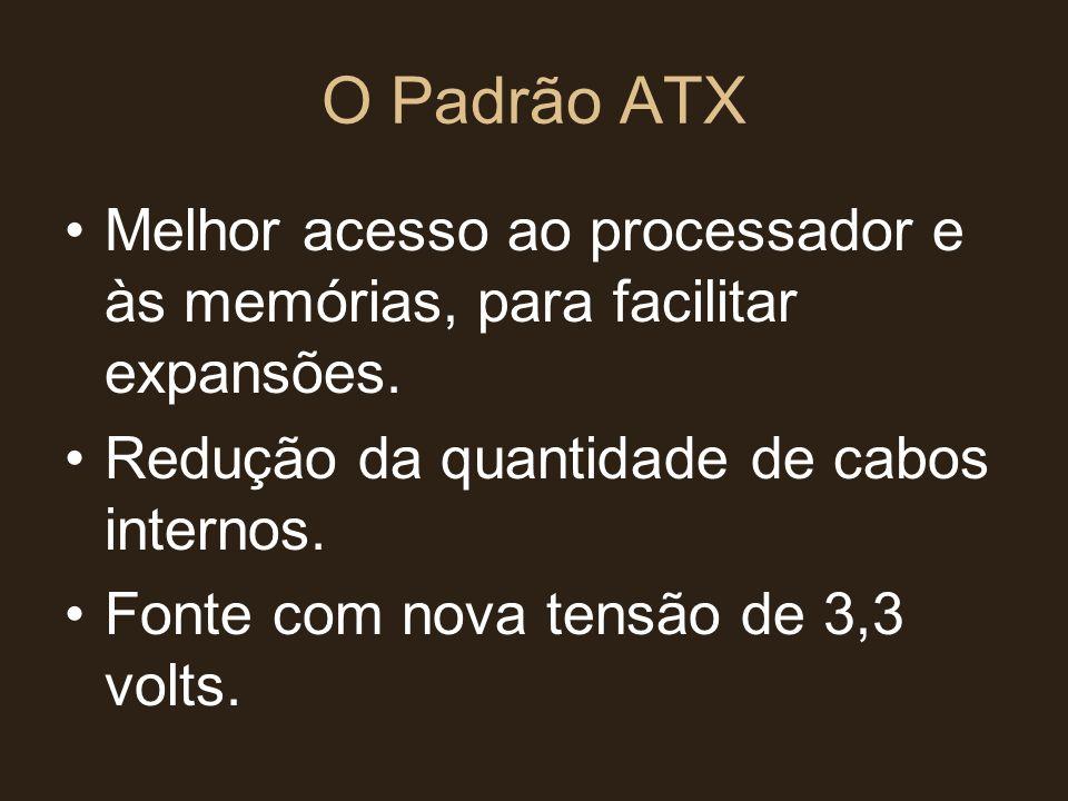 O Padrão ATX Melhor acesso ao processador e às memórias, para facilitar expansões. Redução da quantidade de cabos internos.