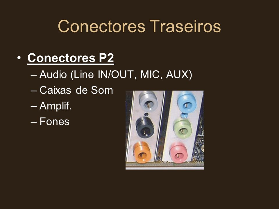 Conectores Traseiros Conectores P2 Audio (Line IN/OUT, MIC, AUX)