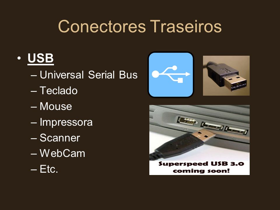 Conectores Traseiros USB Universal Serial Bus Teclado Mouse Impressora