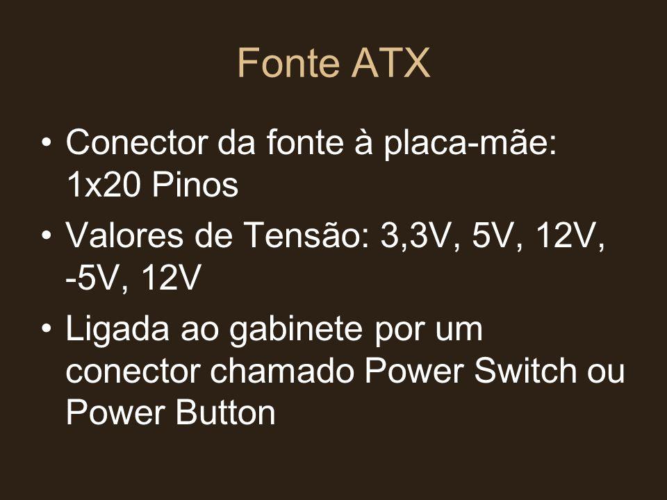Fonte ATX Conector da fonte à placa-mãe: 1x20 Pinos