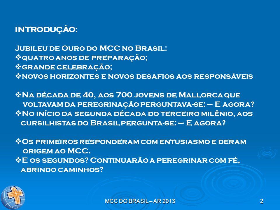 Jubileu de Ouro do MCC no Brasil: quatro anos de preparação;